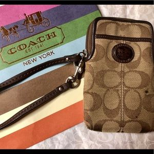 Coach Signature Brown Phone Wristlet